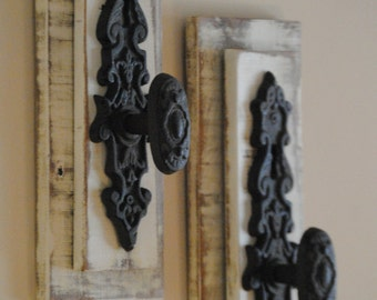 Wall Hooks - Vintage Door Knob - Wall Organizer - Wall Accent - Door Knob Hook - Handcrafted from Reclaimed Wood - Coat Hook - Made to Order