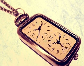 Double Clock Pocket Watch Necklace -Vintage Gold Jewellery -Alice in Wonderland -Kitsch Present - Bronze - Long Distance Friendship Gift