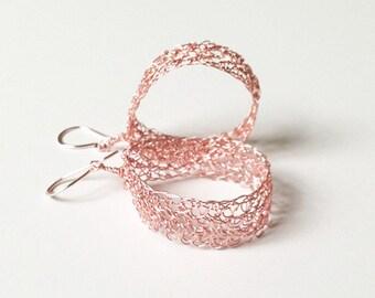 Rose gold earrings Crochet wire earrings.Knitted dangle earrings. Rose gold hoop earrings. Dainty earrings Handmade wire crochet jewelry