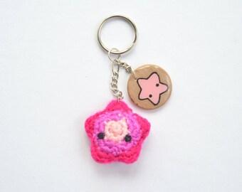 Pink Star keychain,cute keychain,kawaii keychain,cute star,amigurumi keychain,amigurumi star,kids keychain,small keychain