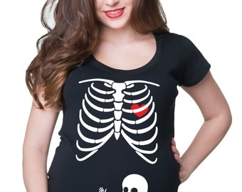 Skeleton Baby BOY Maternity Tee Shirt Gift For Pregnant Woman Funny T-shirt