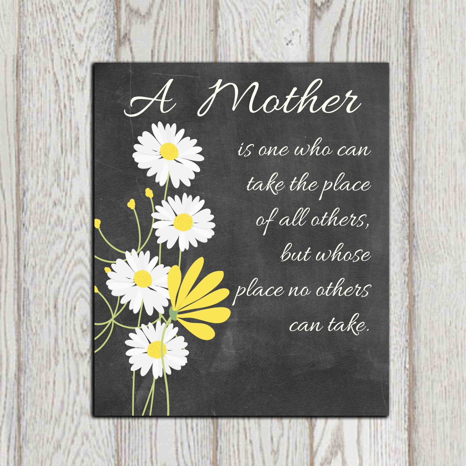 Mothers Day Gift Printable Christmas Gift Idea Daisy Print