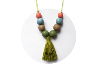 SALE! Tassel necklace. Clay bead necklace. Pastel clay necklace. Boho necklace. Pastel bead necklace. Clay necklace. Bead necklace.Beaded