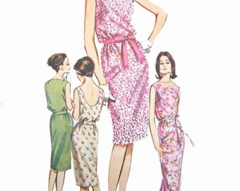 60s Butterick 2667 Sleeveless, Blouson Bodice, Bateau Neckline Dress in Two Lengths, Optional Scoop Back, Vintage Sewing Pattern Size 10
