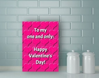 One and Only Valentine card, Printable Valentine Card, DIY Valentine's Card, Printable 5X7 Card, Valentine's Day Card, pink heart