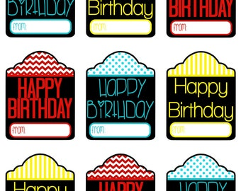 Happy Birthday Tags - Happy Birthday - Printable - Instant Download - 6 Colors