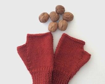 Rusty Fingerless Gloves Rusty Brown Mittens Handknit Gloves Handwarmer Winter Fashion