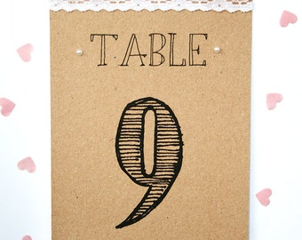 Rustic Kraft, Lace and Pearl Wedding Table Number Card