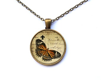 Insect pendant Butterfly necklace Antique jewelry CWAO5