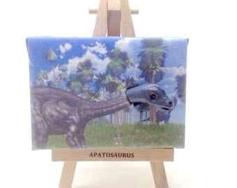 Miniature Apatosaurus (Brontosaurus)  emerging from mini canvas
