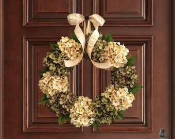 Gorgeous Green & Cream Hydrangea Wreath | Front Door Wreaths | Summer Wreath | Winter Wreath | Fall Wreath | Housewarming Gift Ideas