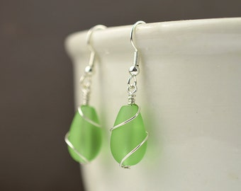 Lgith green sea glass earrings sea glass jewelry green seaglass earrings sterling silver handmade jewelry wire wrapped bridesmaids jewelry