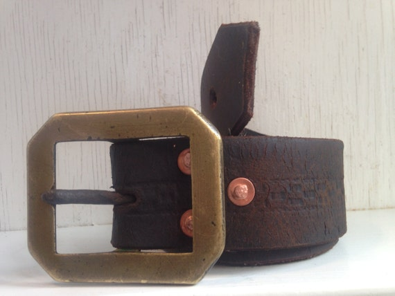 Repurposed stirrup leather belt with vintage brass buckle Repurposed leather belts