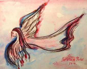 Angel Painting on Paper, Original Painting, Guardian Angel, Small Paintings, Angel Art, Gift for Her, Birthday Gft