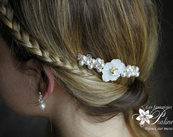 Peigne mariage bohème fleur de nacre et cristaux - Bridal haircomb carved flower mother of pearl
