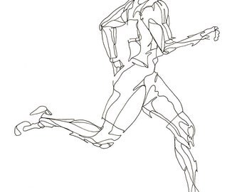 Running Man Line Drawing Fine Art Print