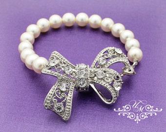 Wedding Jewelry Single Strand Pearl Bow Bracelet Bridal Bracelet Bridesmaids Bracelet Rhinestone Bow Swarovski Pearl Bracelet - KITTY