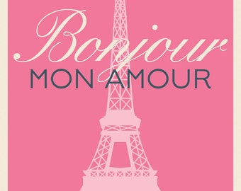 items similar to bonjour mon amour hello my love charm. Black Bedroom Furniture Sets. Home Design Ideas