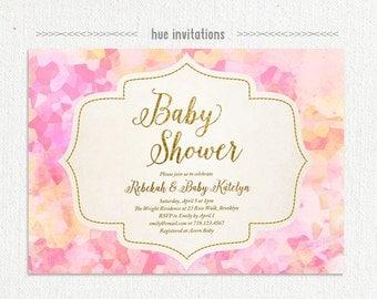 pink gold glitter baby shower invitation, geometric watercolor baby shower invite, modern girl baby sprinkle digital invitation 135