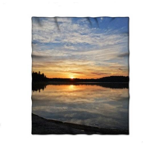 Fleece Blanket, Nature Photo, Boundary Waters, Bright Sunrise, Baby Blanket, Cozy Warm Throw, Minnesota Art, Landscape Image, Home Decor