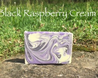 Black Raspberry Cream Handmade Soap - Sweet Scent of Fruit and Vanilla