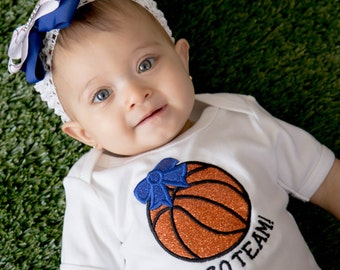 Baby Girl's Basketball Bodysuit with Embroidered Glitter Bow and Name - Customizable Colors