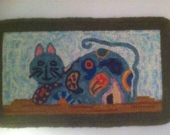"Paisley Cat Rug Hooking Pattern (9"" x 16"")"