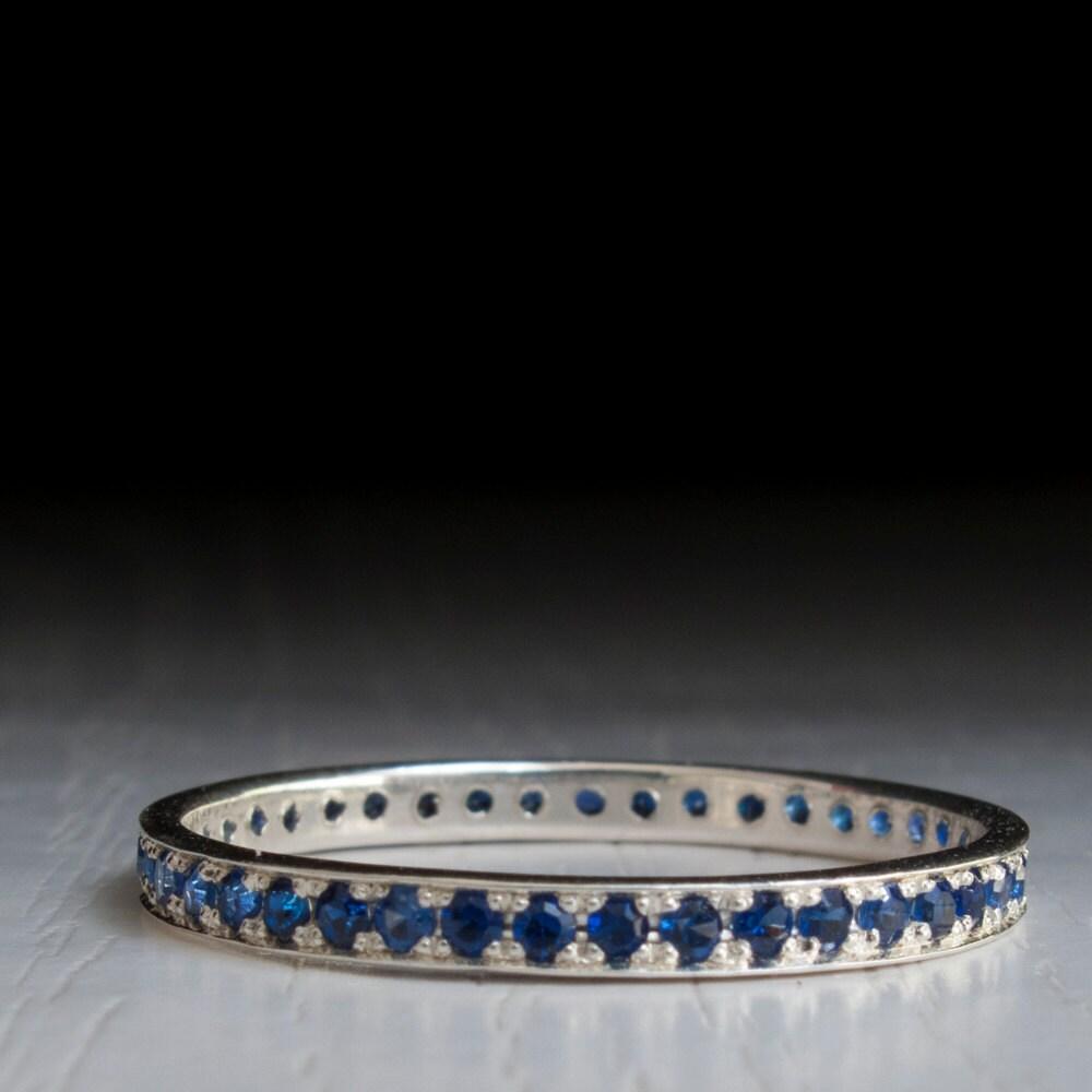 sapphire white gold eternity ring september birthstone