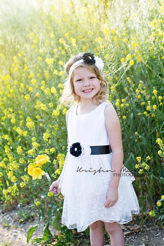 Sash and Headband set, Maternity sash, Mommy and me set, Flower girl, Flower girl sash, Black and white Sash, Pregnancy sash, Wedding