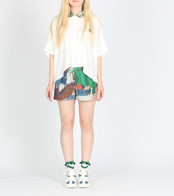 Neverland collection little town and forest summer party blue green floral shorts and skirt
