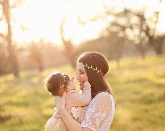 Mommy & Me Headband Set - Gold Leaf Headband - Matching Headbands - Boho Headbands