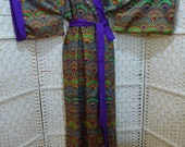 Gold printed Kimono. Full length. Traditional Japanese sleeve design, contrast revere and tie belt. Pure cotton. Very colourful. Unique.