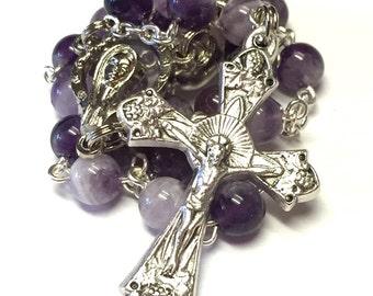 Amethyst Stone Catholic Handmade Auto Rosary/Car Rosary 2 Decades