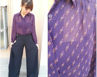 1980 Vintage Shirt/ JJ Monogram Shirt/ Shirt Small/ Shirt Medium/ Shirt Sheer/ Shirt Purple/ Shirt Polyester/ Collar Shirt/ 80's Shirt/ S/ M