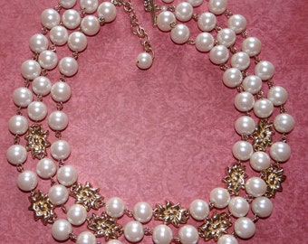Fabulous 3 Strand Pearl Necklace Gold Tone Flowers Looks Like New 18""