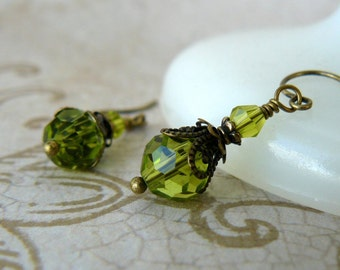 Olive Green Earrings Vintage Inspired Crystal Dangle Earrings Chartreuse Romantic Jewelry Spring Green Gift for Her