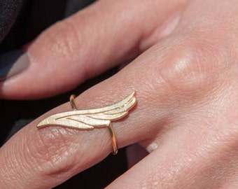 Angel Wing Ring,  Feather Ring,  Pointed Ring, Silver Feather, Guardian Angel Ring, Silver Angel Wing