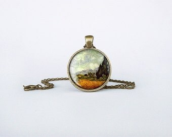 Van Gogh Necklace Wheat field with cypresses pendant grain field cypress art necklace painting Birthday gift jewelry key ring  cb148