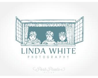 Logo Design (Premade) Vintage logo, Hand drawn logo, Child Logo, Photography Logo, Boutique logo, Whimsical logo, Window logo, Cute logo