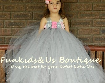 Vintage Gray  Flower Girl Tutu Dress with Pink Flowers- Flower Girl, Birthday, Wedding, Photo Prop, Jr. Bridesmaid,