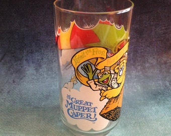 Vintage 1981 The Great Muppet Caper Kermit, Fozzie, Gonzo glass from McDonalds