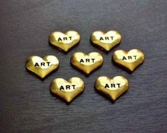 Art Floating Charm for Floating Lockets-Gold Heart-Idea for Women