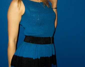 Women Ladies Teens Pleated Sleeveles Dress Hand Knitted Cotton Blend