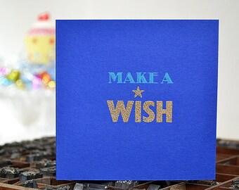 Letterpress Make A Wish Card