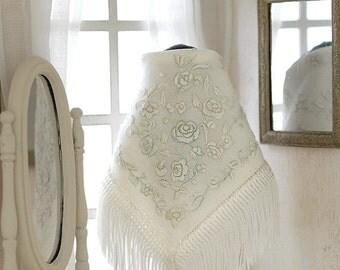 Miniature shawl, hand embroidered in silk, scale 1:12. UNIQUE!
