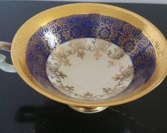 Vintage Schirnding Bavaria Footed Porcelain Cup Cobalt Blue With Gold