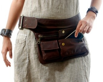 Brown Leather Hip Bag, bum bag, fanny pack, travel pouch, belt pocket
