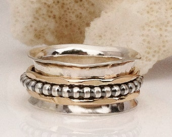 Thumb Ring, Spinner Ring, Silver and Gold Ring, Therapy Ring, Meditation Ring, Mixed Metal Ring, Wide Band,