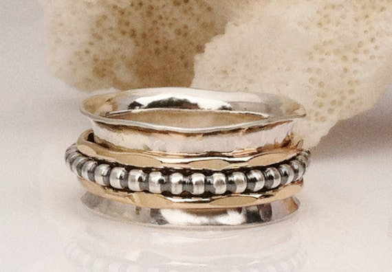 Thumb Ring Spinner Ring Silver and Gold Ring Therapy Ring