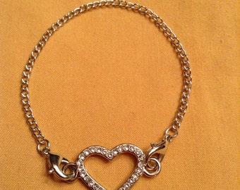 VALENTINES Silver Chain Heart Bracelet